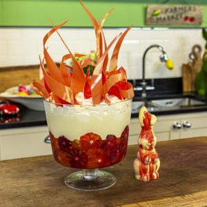 This Blood Orange Trifle has an Easter twist in the form of hot cross buns. It also looks absolutely stunning on the table!