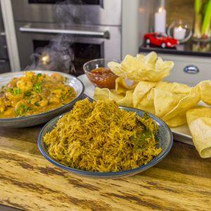 Chicken and Prawn Curry with Biryani, Poppadums and Mango Chutney