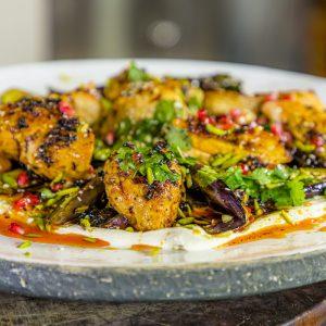 Harissa Chicken with Aubergine Tahini Salad