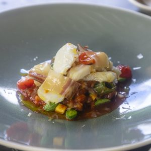 Roasted Cod with Courgette Bolognese