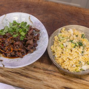 Chilli beef and egg fried rice