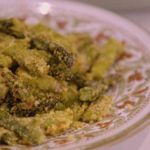 Asparagus with Polenta Crumb