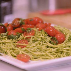 WATERCRESS PESTO SPAGHETTI WITH MARINATED TOMATOES