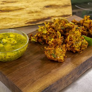 Apple parsnip and courgette Bhajis with mango dip