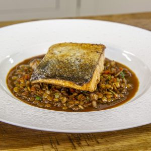 Pan fried salmon with lentils