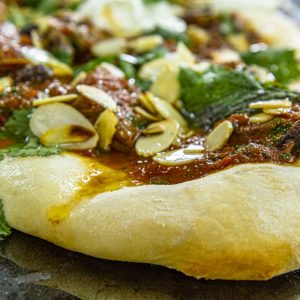 Flat bread with spiced lamb