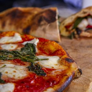 Vegetable Calzone and margherita pizza