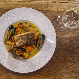 Pan Fried Salmon with Oriental Mussel Sauce