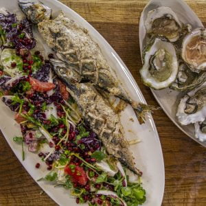 Marinaded Oven Baked Whole Mackerel, Oysters and Radicchio Salad