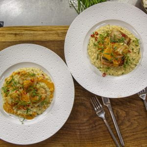 Salmon and Scallops with ginger and lemongrass risotto