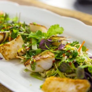 Scallops With Oriental Salad And Asian Dressing