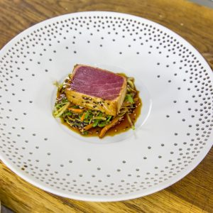 Teriyaki tuna with stir fried ginger vegetables