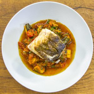 Roasted Cod with Spiced Aubergine