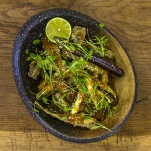 Miso, Deep Fried Aubergines, Artichokes and Courgettes