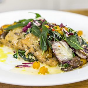 Fried Sage and Onion Risotto with Squash, Wild Mushrooms, Cavolo Nero and Trevise