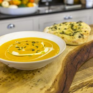 Roasted pumpkin soup with seeded flatbread