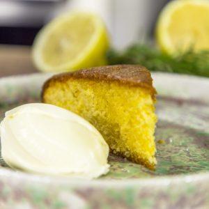 Lemon, rosemary and polenta cake