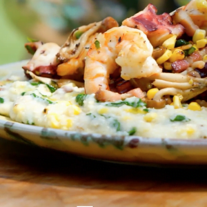 Grits with Shrimp and Octopus