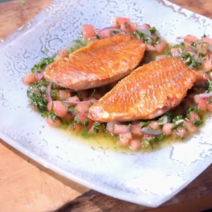 Pan Fried Red Mullet with Sauce Vierge