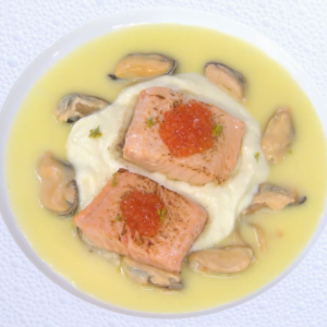 Trout with Gruyere Aligot, Mussels and Tomato Butter Sauce