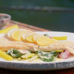 Tea Smoked Salmon and Rainbow Chard with Beurre Blanc