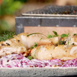 Chicken Legs and Red Cabbage Salad with Walnuts and Sultanas