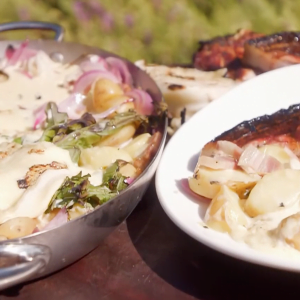 Summer Cabbage Tartiflette and Pork Chops