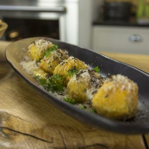Arancini with wild mushrooms and truffle mayo