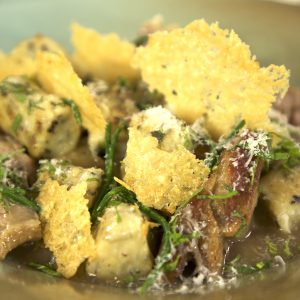 SLOW ROASTED SHOULDER OF LAMB WITH SEAWEED GNOCCHI
