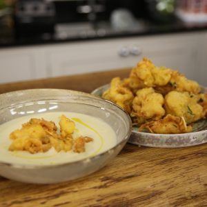 CELERIAC SOUP WITH CHOUX FRITTERS