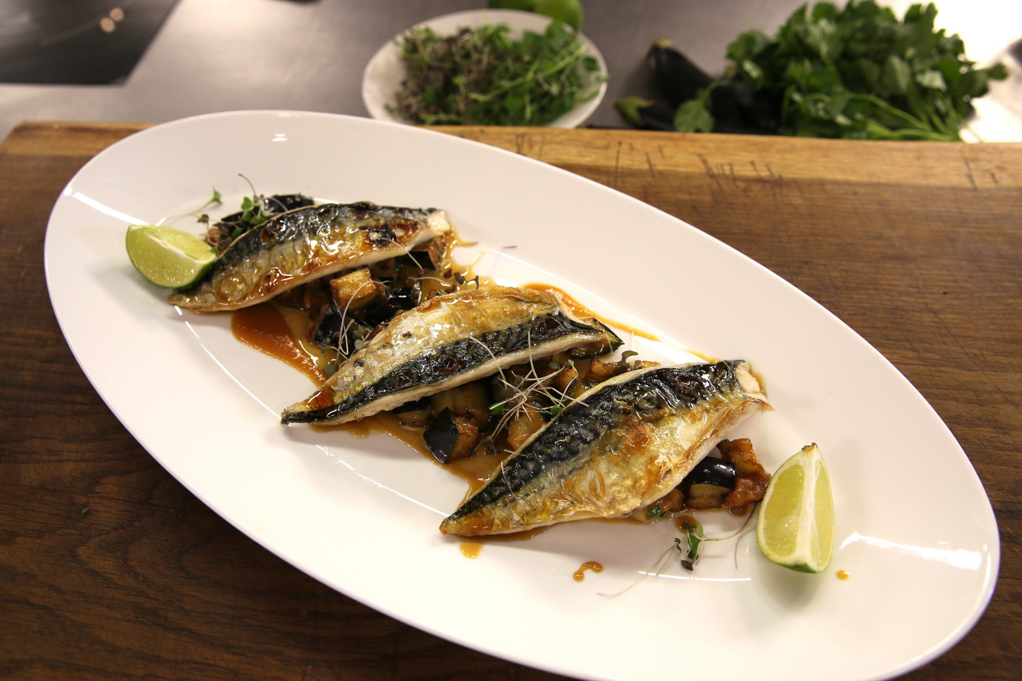 Mackerel With Miso And Deep Fried Aubergine James Martin Chef