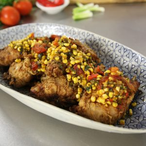 RABBIT IN A BUCKET WITH CORN RELISH