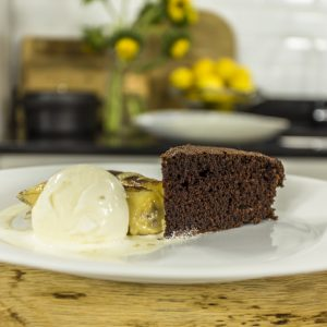 Chocolate and Cola Cake with Rum Bananas and Ice Cream