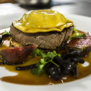 Fillet steak with ravioli