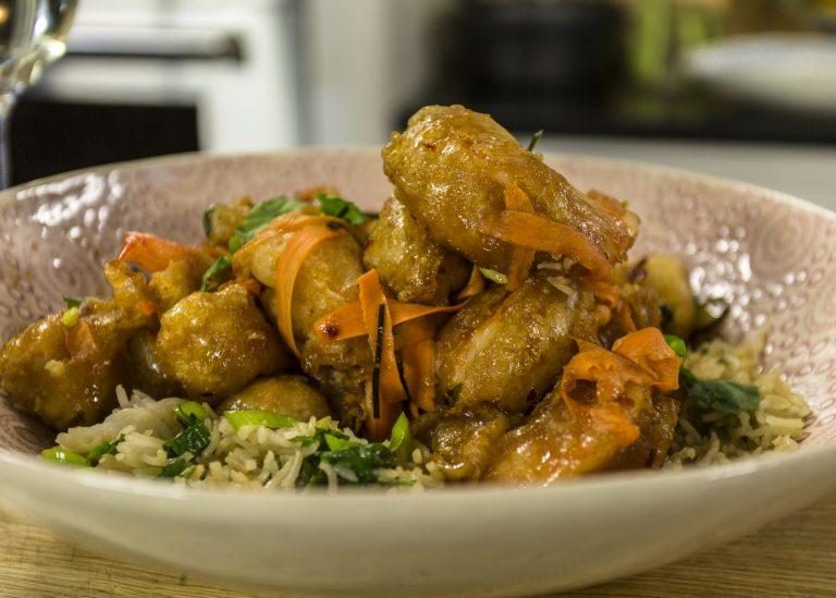 Tempura Shrimp With Orange Chilli Sauce And Stir Fried Rice James