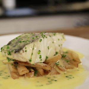STEAMED COD WITH SALSIFY & BUERRE BLANC