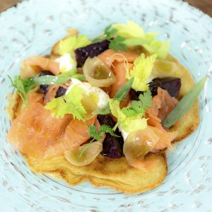 BLINI WITH BEETS, SMOKED SALMON & CREME FRAICHE