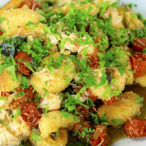 GNOCCHI WITH CRAB, CHILLI, OVEN DRIED CHERRY TOMATOES