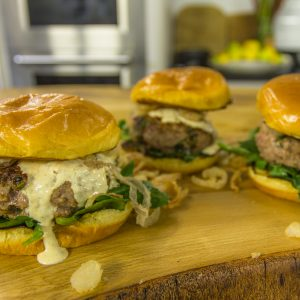 LAMB BURGERS WITH CHIPOTLE AND FRIED ONIONS