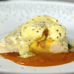 SMOKED HADDOCK WITH MUSTARD SAUCE, SPINACH AND POACHED EGG