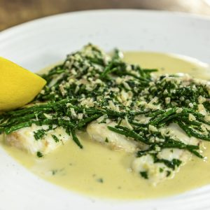 GRILLED PLAICE WITH SAMPHIRE AND WHITE WINE CREAM SAUCE