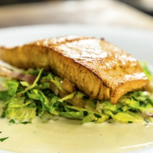 PAN FRIED SALMON WITH BACON BRUSSELS SPROUTS