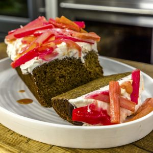 GINGER CAKE WITH RHUBARB ICING