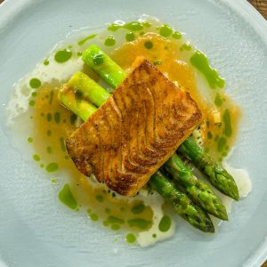 Sea Trout with Asparagus, Potato Risotto and a Tomato Butter Sauce