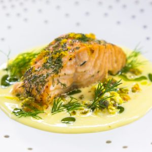 CEDAR PLANK SALMON, CRACKED EGG AND CAPERS, BUTTER SAUCE, DILL