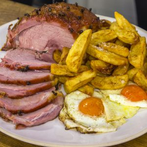 Ham, chips and eggs