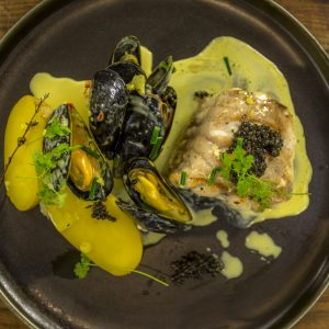 MONKFISH WITH A RAGOUT OF MUSSELS, GINGER AND LEMONGRASS