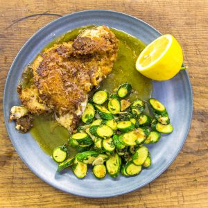 MOZZARELLA STUFFED CHICKEN WITH HERBY LEMON COURGETTES