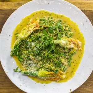 PRIMAVERA RISOTTO WITH DEEP-FRIED COURGETTE FLOWERS