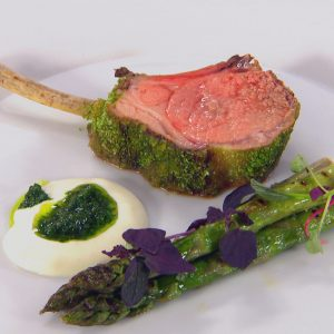 HERB CRUSTED LAMB WITH CHARGILLED ASPARAGUS, SOFT SHEEP'S CHEESE AND GREMOLATA